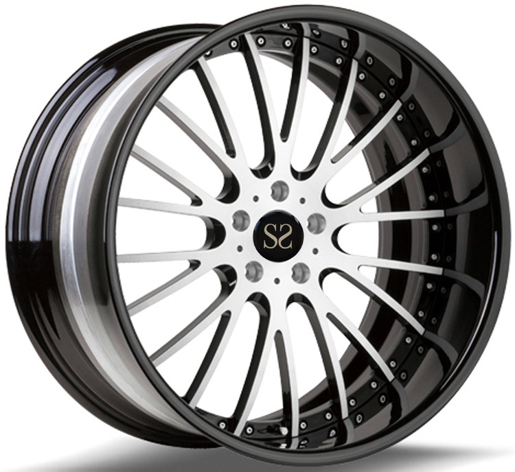 Gloss Black 20 Inch 2- Piece Forged Alloy Rims For Porsche Rims With 5x130